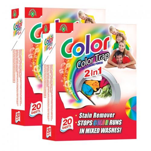 2 броя Кърпички Color Trap 2 in 1 – против оцветяване на пране и за отстраняване на петна, 20 бр.