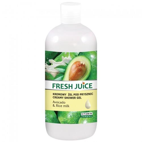 Fresh Juice Регенериращ душ гел с авокадо и оризово мляко, 500 мл