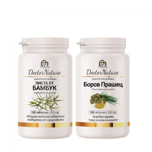 Dr. Nature Боров прашец - 120 таблетки + Листа от Бамбук 120табл х 350мг