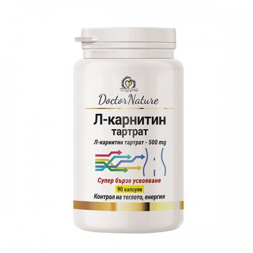 Dr. Nature Л карнитин тартрат, 90 капсули