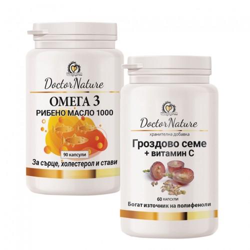 Омега 3 рибено масло 1000 - 90 капсули + Dr.Nature Гроздово семе с вит С - 60 капсули